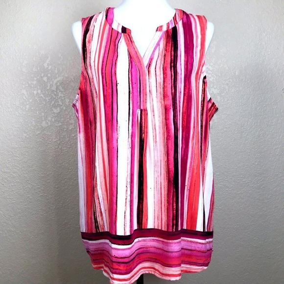 9cc8fcbb74244 Apt. 9 Tops - Apt 9 Sleeveless Striped Blouse Top Pink Orange XL